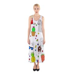 Animals Fruite Cake Lip Pattern Sleeveless Maxi Dress