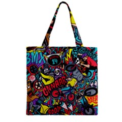 Bike Jumble Zipper Grocery Tote Bag by AnjaniArt