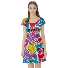 Animation Animated Cartoon Pattern Short Sleeve Skater Dress by AnjaniArt