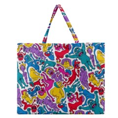 Animation Animated Cartoon Pattern Zipper Large Tote Bag by AnjaniArt