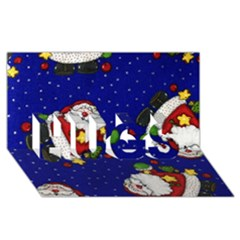 Blue Santas Clause Hugs 3d Greeting Card (8x4) by AnjaniArt