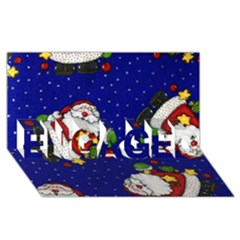 Blue Santas Clause Engaged 3d Greeting Card (8x4)