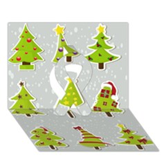 Christmas Elements Stickers Ribbon 3d Greeting Card (7x5) by AnjaniArt