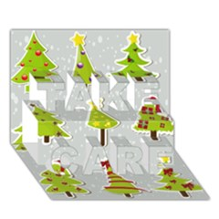 Christmas Elements Stickers Take Care 3d Greeting Card (7x5)