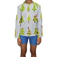 Christmas Elements Stickers Kids  Long Sleeve Swimwear
