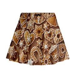 Christmas Cookies Bread Mini Flare Skirt