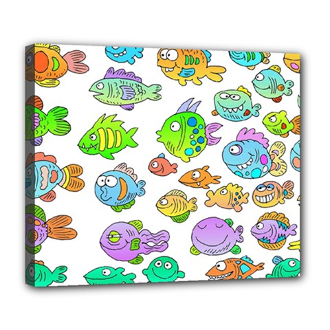 Fishes Col Fishing Fish Deluxe Canvas 24  X 20   by AnjaniArt