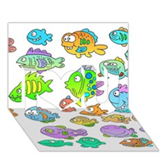 Fishes Col Fishing Fish I Love You 3d Greeting Card (7x5) by AnjaniArt