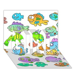 Fishes Col Fishing Fish Girl 3d Greeting Card (7x5) by AnjaniArt