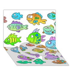 Fishes Col Fishing Fish Circle Bottom 3d Greeting Card (7x5) by AnjaniArt