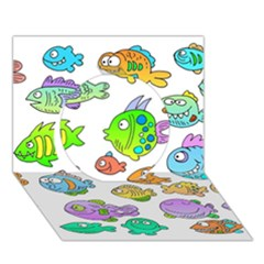 Fishes Col Fishing Fish Circle 3d Greeting Card (7x5) by AnjaniArt
