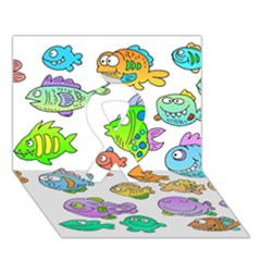 Fishes Col Fishing Fish Ribbon 3d Greeting Card (7x5) by AnjaniArt