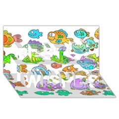 Fishes Col Fishing Fish Best Wish 3d Greeting Card (8x4) by AnjaniArt