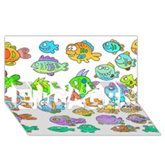 Fishes Col Fishing Fish Engaged 3d Greeting Card (8x4) by AnjaniArt