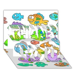 Fishes Col Fishing Fish Thank You 3d Greeting Card (7x5) by AnjaniArt