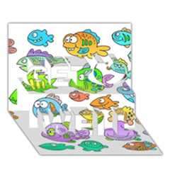 Fishes Col Fishing Fish Get Well 3d Greeting Card (7x5) by AnjaniArt