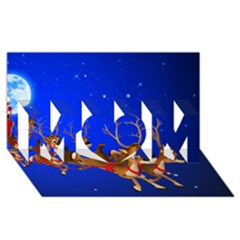 Holidays Christmas Deer Santa Claus Horns Mom 3d Greeting Card (8x4) by AnjaniArt