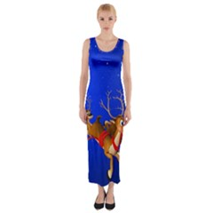 Holidays Christmas Deer Santa Claus Horns Fitted Maxi Dress