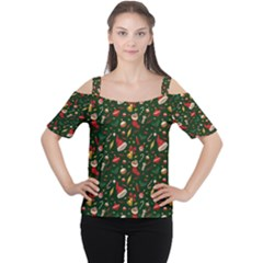 Hat Merry Christmast Women s Cutout Shoulder Tee