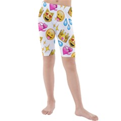 King Cat Smile Water Love Christmast Kids  Mid Length Swim Shorts