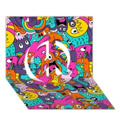 Jumble Bunny Peace Sign 3d Greeting Card (7x5)