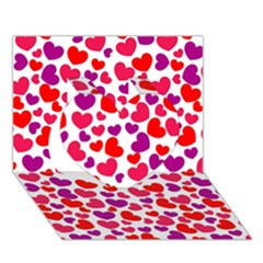 Love Pattern Wallpaper Heart 3d Greeting Card (7x5) by AnjaniArt