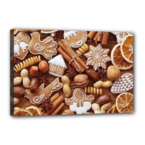 Nuts Cookies Christmas Canvas 18  X 12  by AnjaniArt