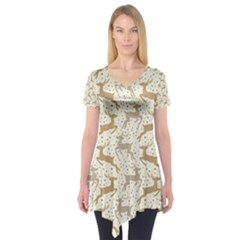 Paper Gift Deer Short Sleeve Tunic  by AnjaniArt