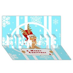 Santa Claus Reindeer Christmas Best Sis 3d Greeting Card (8x4) by AnjaniArt