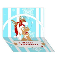 Santa Claus Reindeer Christmas Ribbon 3d Greeting Card (7x5) by AnjaniArt