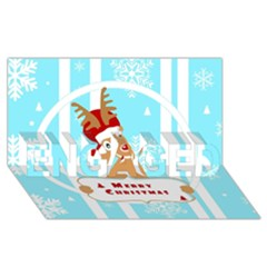 Santa Claus Reindeer Christmas Engaged 3d Greeting Card (8x4) by AnjaniArt