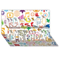 Sign Happy Birthday 3d Greeting Card (8x4) by AnjaniArt