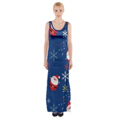 Santa Clause Maxi Thigh Split Dress by AnjaniArt