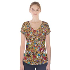 Retro Face Short Sleeve Front Detail Top