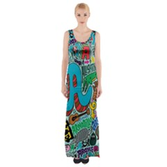 Teks Face Maxi Thigh Split Dress by AnjaniArt