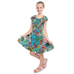 Teks Face Kids  Short Sleeve Dress