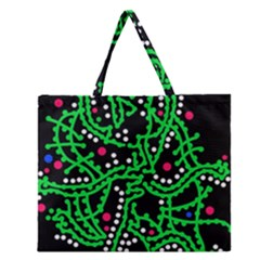 Green Fantasy Zipper Large Tote Bag by Valentinaart