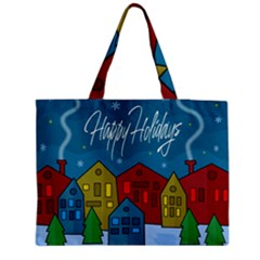 Xmas Landscape Medium Zipper Tote Bag by Valentinaart
