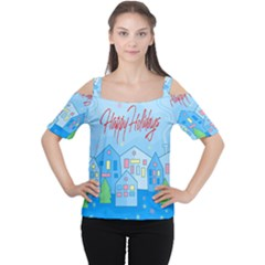 Xmas Landscape   Happy Holidays Women s Cutout Shoulder Tee by Valentinaart