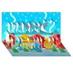 Christmas Magical Landscape  Happy Birthday 3d Greeting Card (8x4) by Valentinaart