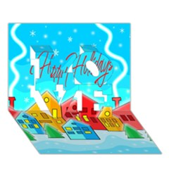 Christmas Magical Landscape  Love 3d Greeting Card (7x5) by Valentinaart