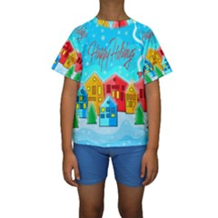 Christmas Magical Landscape  Kids  Short Sleeve Swimwear by Valentinaart