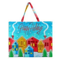 Christmas Magical Landscape  Zipper Large Tote Bag by Valentinaart