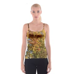 Autumn Tree Op Art With Hidden Kitty Spaghetti Strap Top by SusanFranzblau