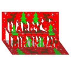 Reindeer And Xmas Trees Pattern Happy Birthday 3d Greeting Card (8x4) by Valentinaart