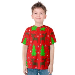 Reindeer And Xmas Trees Pattern Kids  Cotton Tee