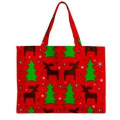 Reindeer And Xmas Trees Pattern Zipper Mini Tote Bag by Valentinaart