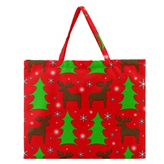Reindeer And Xmas Trees Pattern Zipper Large Tote Bag by Valentinaart