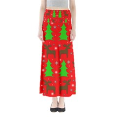 Reindeer And Xmas Trees Pattern Maxi Skirts by Valentinaart