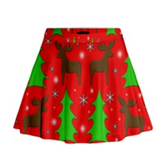 Reindeer And Xmas Trees Pattern Mini Flare Skirt by Valentinaart